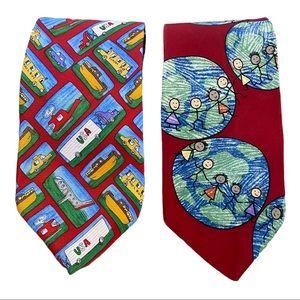 Two Save The Children Ties. Classic Men's Ties.